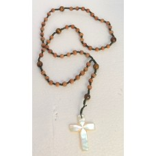 Rosary - 5D Sandal Wood With Mother of Pearl Cross String By Hand