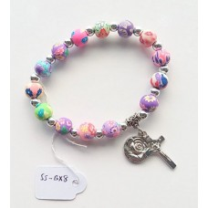 Rosary - 1D 8mm Bead Colourful Polymer Rosary Bracelet